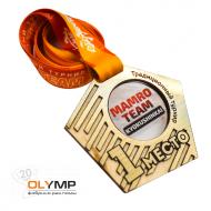 Медаль из дерева с акрилом и пластиком 3-слойная, с УФ-печатью