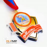 Медаль из акрила с платиком 3-слойная (один слой пластика) с УФ-печатью