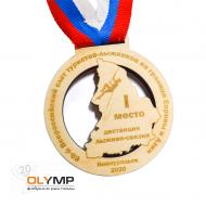 Медаль из дерева 1-слойная с гравировкой