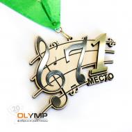 Медаль из дерева с пластиком 2-слойная, с гравировкой