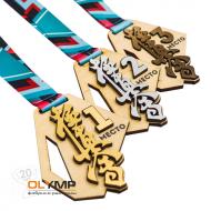 Медаль из дерева с пластиком 2-слойная, с УФ-печатью