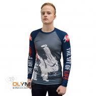 Рашгард мужской спортивного кроя с плоскими швами, модель с длинным рукавом, материал бифлекс