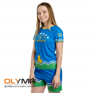 Форма футбольная женская с коротким рукавом и О-вырезом