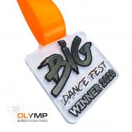 Медаль из акрила с пластиком 2-слойная с УФ-печатью